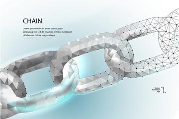 Chain. Blockchain. Low poly