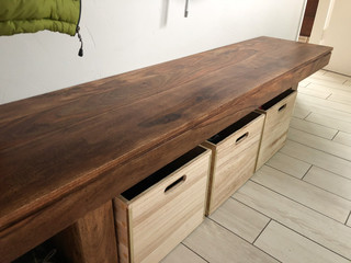 Wood Bench with Shoe Boxes