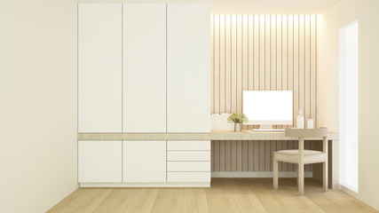 Workplace and wardrobe in condominium - Study room white tone artwork for apartment or home - 3D Rendering