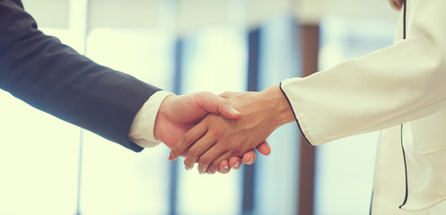 close up businesswoman handshake with businessman partner,ceo leader hand shake for agreement or approve or deal financial concept
