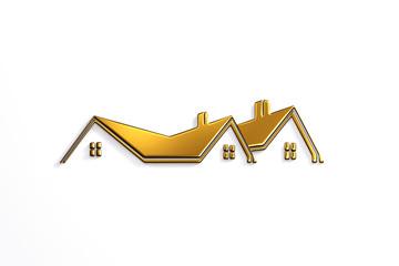 Real Estate Bronze House Logo Design. 3D Rendering Illustration