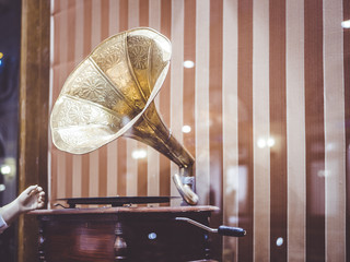 old vintage retro gramophone close up