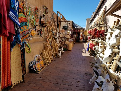 Spanish / Mexican Style Alley Way Filled With Local Vendor Goods; Travel and Tourism Concepts