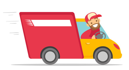 Caucasian white man driving a delivery truck. Happy courier looking through a truck window. Delivery cargo service concept. Vector cartoon illustration isolated on white background. Horizontal layout.