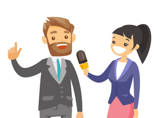 Young caucasian white female reporter with a microphone interviewing a man. Journalist making an interview with businessman. Vector cartoon illustration isolated on white background. Horizontal layout