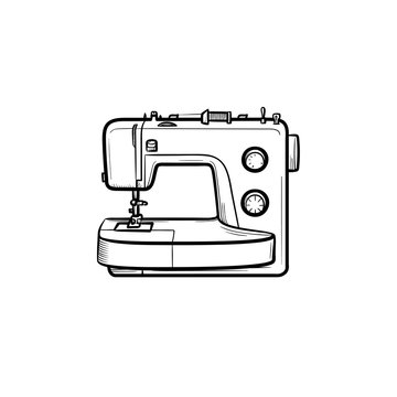 Sewing-machine hand drawn outline doodle icon. Vector sketch illustration of sewing-machine for print, web, mobile and infographics isolated on white background.