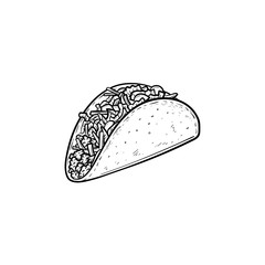 Taco hand drawn outline doodle icon. Traditional mexican fast food - taco vector sketch illustration for print, web, mobile and infographics isolated on white background.
