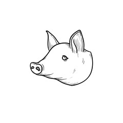 Pork meat hand drawn outline doodle icon. Pig snout vector sketch illustration for print, web, mobile and infographics isolated on white background.