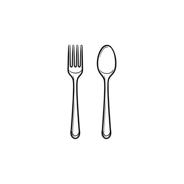 Fork and spoon hand drawn outline doodle icon. Cutlery - fork and spoon vector sketch illustration for print, web, mobile and infographics isolated on white background.