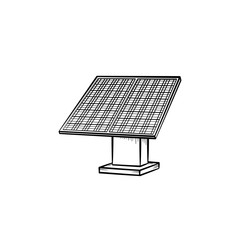 Solar panel hand drawn outline doodle icon. Equipment for renewable energy - solar panel vector sketch illustration for print, web, mobile and infographics isolated on white background.