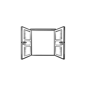 Door opening hand drawn outline doodle icon. Opened door vector sketch illustration for print, web, mobile and infographics isolated on white background.