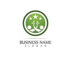 health people community leaf logo design illustration