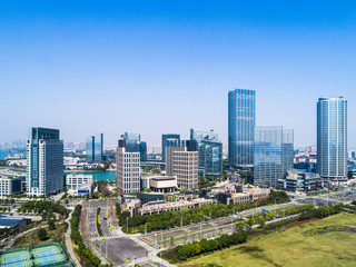 Hangzhou, Zhejiang, China, leisure and high-rise buildings of the public.
