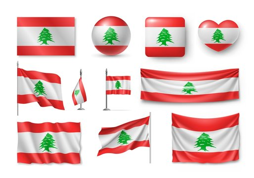 Set Lebanon flags, banners, banners, symbols, flat icon. Vector illustration of collection of national symbols on various objects and state signs