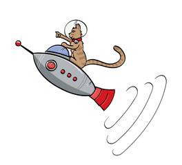 Brown Tabby Cat Riding a Retro Space Ship