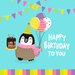 Happy birthday greeting card with cute penguins. Vector illustration. Basic RGB