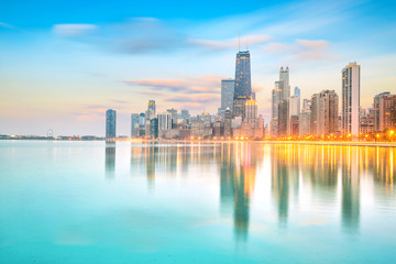 Aluminium Prints American Famous Place Downtown chicago skyline at sunset Illinois