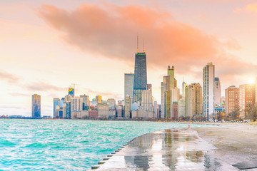 Photo sur Toile Chicago Downtown chicago skyline at sunset Illinois
