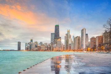 Fototapete - Downtown chicago skyline at sunset Illinois