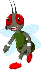 cute flies cartoon walking with laughing with waving