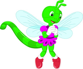 cute dragon flies cartoon standing with laughing