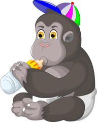 funny baby gorilla cartoon sitting with smile and drink milk