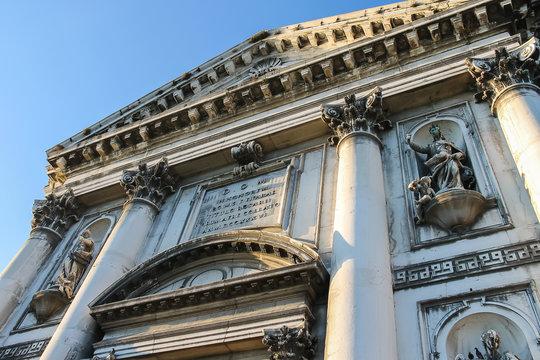 Old statues on facade of the Church of Santa Maria del Rosario (Gesuati). Venice, Italy