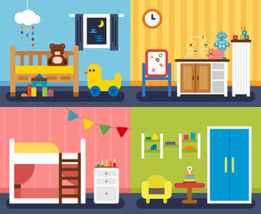 four kind of children room. vector flat design illustration set