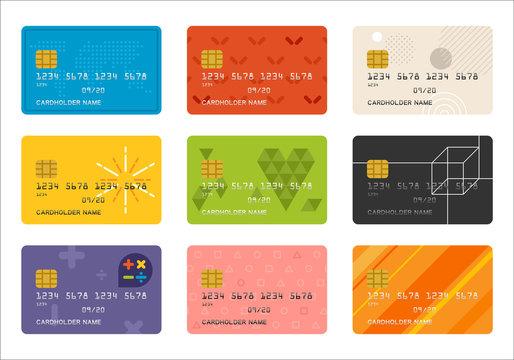 credit card pattern vector flat design illustration set