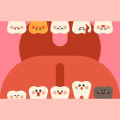 dental problem characters vector flat design illustration set