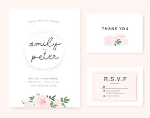 wedding invitation card with golden rose.