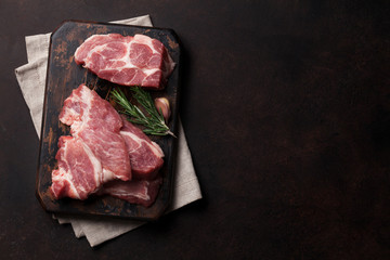 Raw pork meat cooking