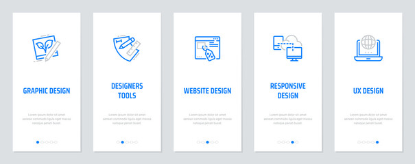 Graphic, Website, Responsive, UX design, Designers tools, Vertical Cards with strong metaphors.