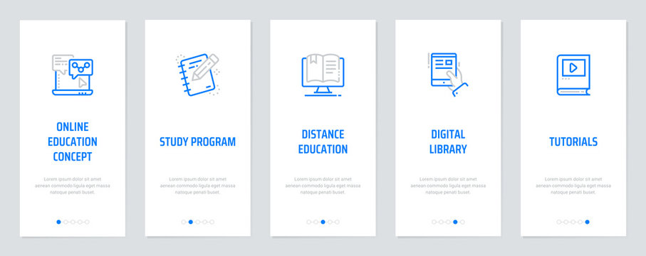Online education concept, Study program, Distance education, Digital library, Tutorials Vertical Cards with strong metaphors.