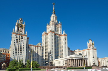 Main building of Moscow State University named after Lomonosov (MSU) on Lenin (Vorobyovy) mountains, Russia