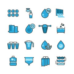 Dirty effluent water treatment plant and water filter for sewage sludge vector icons set