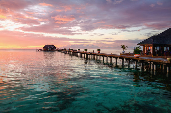 A beautiful colorful sunset over the ocean, Maldives