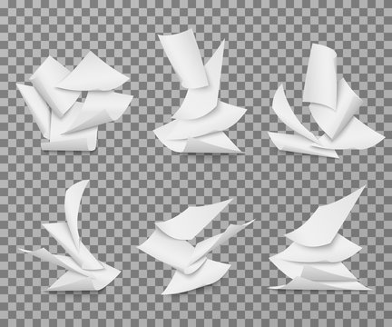 Flying white blank paper sheets. Pile of document pages vector set isolated