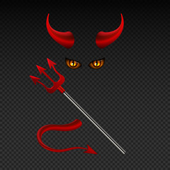 Devil horns, harpoon, satanic yellow eyes and tail isolated vector photobooth props for hell party