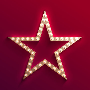 Hollywood film star with light bulb marquee. Retro gold movie frame. Casino light vector sign