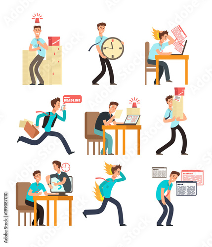 Stressed office people for deadline and time management concept