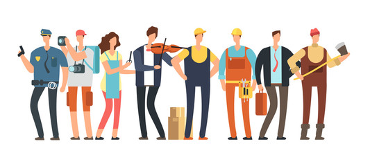 Men and women of different professions. Professional people group. Cartoon specialist and employee characters isolated