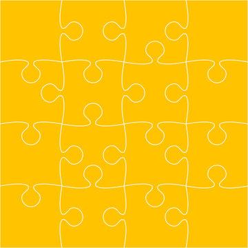 16 Orange Puzzle Pieces - JigSaw - Vector