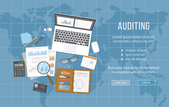 Auditing concepts. Data analysis, analytics, planning, statistics, research. Documents, calendar, calculator, notebook, business card, coffee, pen, planner, magnifier. Top view. Vector map background