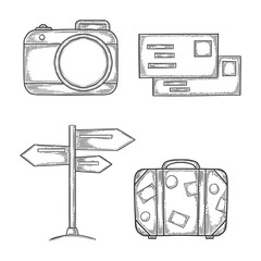 Vacation set, digital photo camera and handbag, wooden signpost and letters with stamps. Hand drawn vector in engraving and sketch style. Isolated on white background