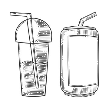 Set of refreshing drinks, can of soda and cup of smuzzi, with drinking straw. Hand drawn vector in engraving and sketch style. Isolated on white background. Copy space and template.
