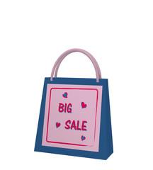blaue Einkaufstasche mit lila Sale Etikett auf weiß isoliert. 3d render