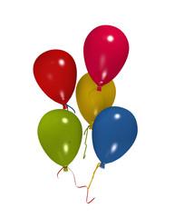 bunte Luftballons an Bändern auf weiß isoliert. 3d render