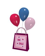 lila Einkaufstasche mit lila Sale Etikett und bunten Luftballons auf weiß isoliert. 3d render