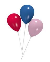 Luftballons in blau, pink und rosa auf weiß isoliert. 3d rendering